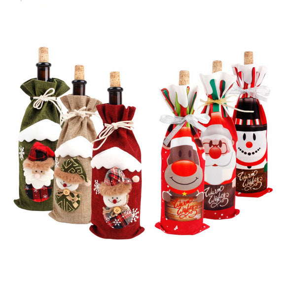 Christmas Decorations for Home Santa Claus Wine Bottle Cover - HeyHouseCart