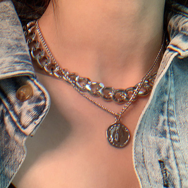 Vintage Multi-layer Coin Chain Choker Necklace For Women
