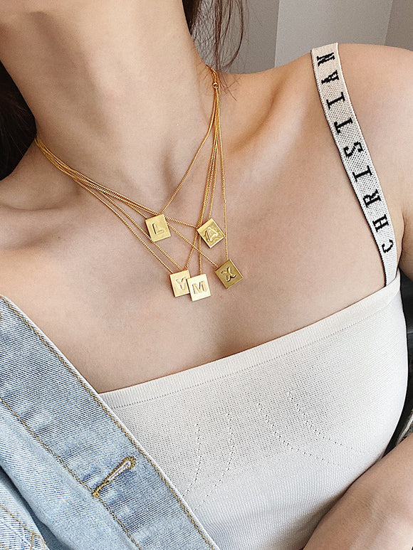 Initial Letter Name Square Pendant Women Necklace