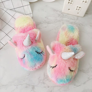 Super Cute and Soft Rainbow Unicorn Slipper and Pocket Coin Bag - HeyHouse