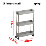 Kitchen Storage Rack Slim Slide Tower Movable Assemble Plastic Bathroom Shelf Wheels Space Saving Organizer - HeyHouse