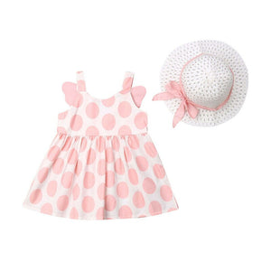 Cute Kids Baby Girl Outfits Clothes Polka Dot Sundress Strawhat Sets Strap Mini Dress with Wings Bow and Sun Hat - HeyHouse