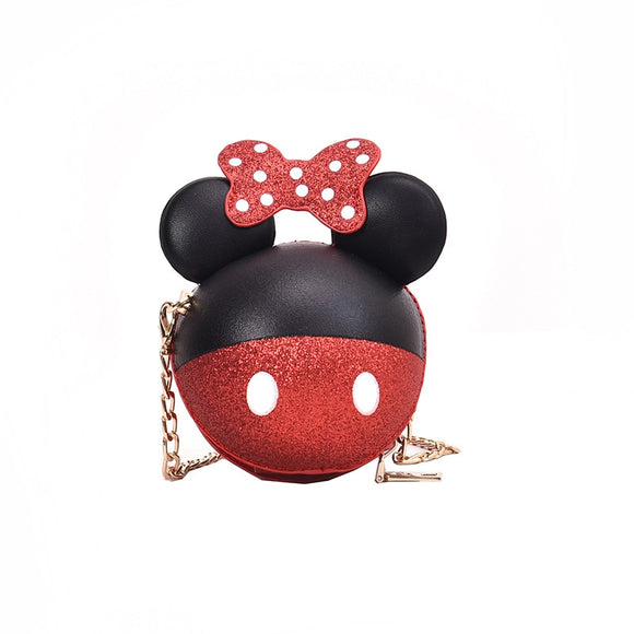 Minnie Bag Shoulder Strap Children Mini Black Leather Chain Messenger Bags