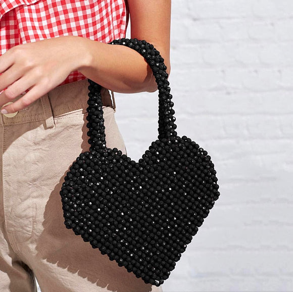 2019 Fashion Blogger with The Spring and Summer New Small Group Fashion Love Handmade Handmade Bag Red / Black - HeyHouse