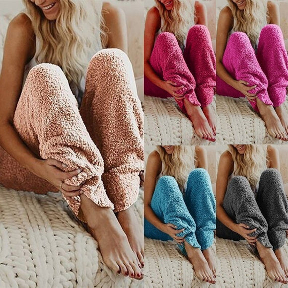 Womens Fluffy Fuzzy Pants Soft Sleep Lounge Pajama Pants Casual Knitted Sleepwear Trousers Bottoms S-5XL