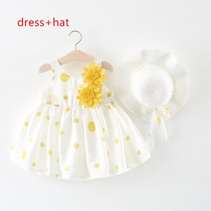 2020 Summer Baby Girl Dress for Newborns Sleeveless Princess Dress With Hat - HeyHouse