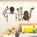 Stick Figure 3D Wall Stickers Paintings Of Lovers Living Room Decoration