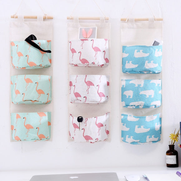 3 Pockets Wall Mounted Wardrobe Hang Bag Kitchen Cotton Linen Hanging Storage Holder Organizer Cosmetic Bag Toys Organizer - HeyHouse