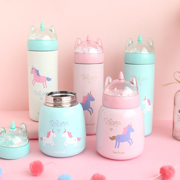 300ML Unicorn Thermos Bottle with Glitter Lid - HeyHouse