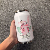 300ml Cute Funny With Straw Coffee Mug Vacuum Cup Thermos Stainless Steel Tumbler Thermocup Travel Drink Bottle Beverage Can - HeyHouse