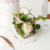 Artificial Flowers Potted Plants with Ceramic Pot & Iron Stand - HeyHouse