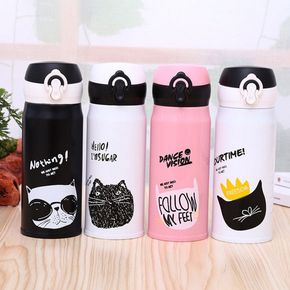 350ml Cartoon Cat Stainless Steel Vacuum Flasks Thermos Mug Thermal Water Bottle Tumbler Thermos Cup - HeyHouse