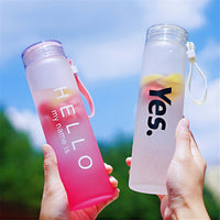 450ML Frosted Glass Water Bottle Gradient Color - HeyHouse