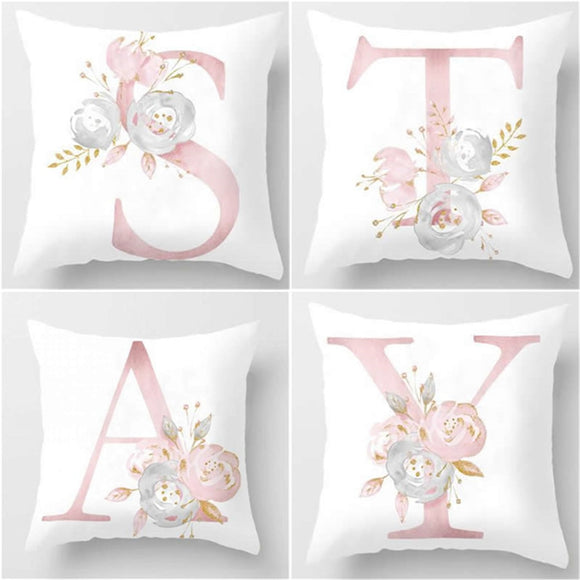 45x45cm Kids Room Decoration Letter Pillow English Alphabet Polyester Cushion Cover/ Throw Pillow for Sofa Home Decoration Flower Pillowcase/ Throw Pillow - HeyHouse