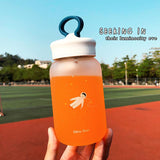 460ml Glass Water Bottle Heat Resistant Portable Cute Juice Cup
