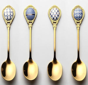 4pcs/set Stainless Steel Spoons Set Inlay Ceramic Handle Coffee Scoop Vintage Gold Plating Dessert Spoon High Grade Cake Scoop - HeyHouse