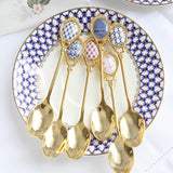 4pcs/set Stainless Steel Spoons Set Inlay Ceramic Handle Coffee Scoop Vintage Gold Plating Dessert Spoon High Grade Cake Scoop - HeyHouseCart