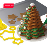 6Pcs/3sets Christmas Tree Cookie Cutter Stars Shape Fondant Cake Biscuit Cutter