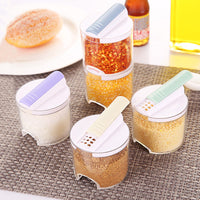 5pcs/set Seasoning Spice Plastic Bottles Jars Boxes Kitchen Storage Organizer Condiment Lid Can Cover Organization Accessories - HeyHouseCart