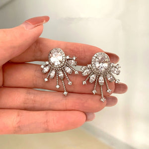 Silver Vintage Diamond Clip-on Earring