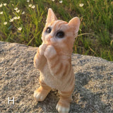 Cute Puppy Statue Simulation Animals CAT Funny Stand Creative Home Decor Resin Action Figure - HeyHouse