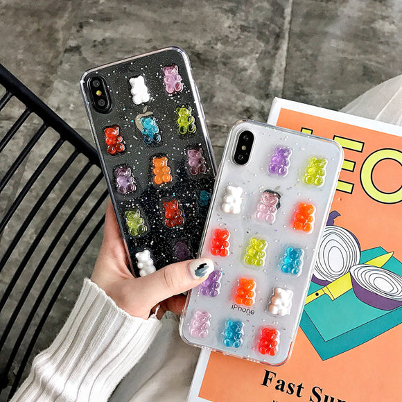 Cute 3D Candy Colors Bear Phone Case for Iphone