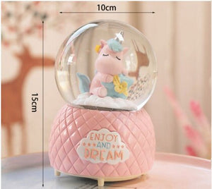 8-10CM Cute Unicorns Snow Globes Glass Music Box - HeyHouse