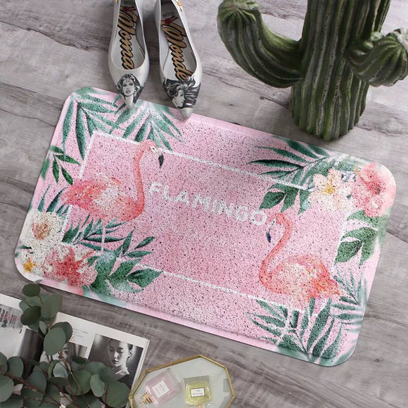 Anti Slip Doormat for Entrance Door Pink Flamingo Mats - HeyHouse