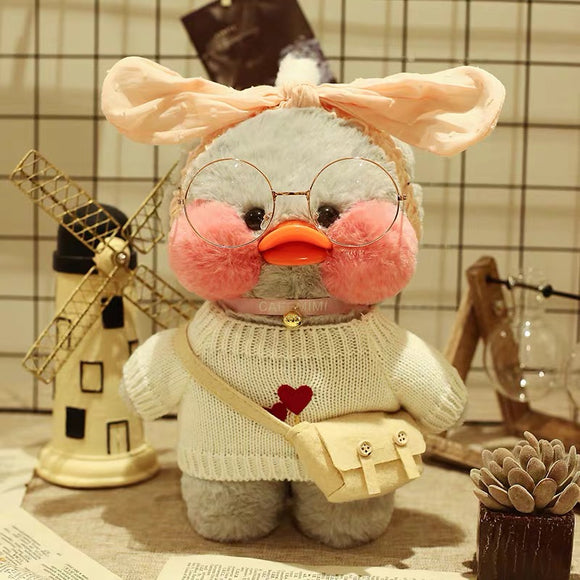 Cute Lalafanfan Cafe Gray Duck Plush Toy - HeyHouse