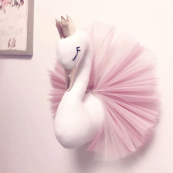 Animal Head Swan Flamingo Wall Hanging Mount Stuffed Plush Toy Princess Doll for Girl Baby Kid Gift Nursery Room Wall Decor - HeyHouse