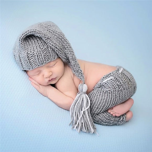 Baby Photography Props Newborn Costume Outfit Clothes Infant Girls Boys Hat Pant Crochet Knit Clothing Photo Shoot Hat For Baby - HeyHouse