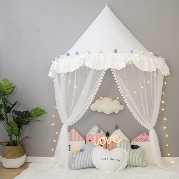Children's Teepee Tent for Kids Canopy Drapes for Cribs Baby Girl - HeyHouse