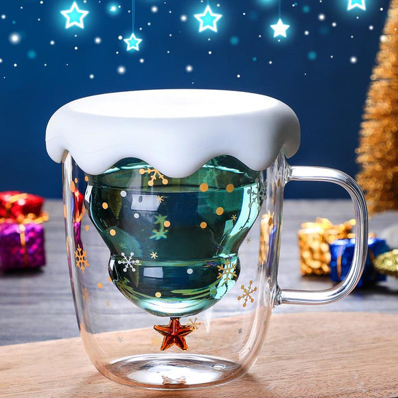Christmas Tree Insulated Glass Coffee Mug