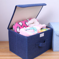 Cotton linen Fabric Folding CD Storage Boxes Foldable Bins Toys Organizer With Lids And Handles Storage Basket Laundry Basket - HeyHouseCart