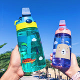 Creative children's cup leak-proof straw cup summer boys and girls student cute portable plastic water bottle hand cups - HeyHouse