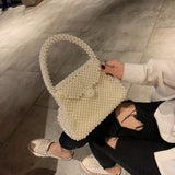 Design Hand-woven Pearl Bag Women Shoulder Messenger Retro Fashion Mini Beach Travel Bag Evening Party Handbag Gifts for Mother - HeyHouse