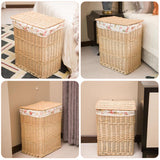 Dirty Clothes Storage Basket Large Wicker Mesh Storage Box Laundry Hamper With Lid Waterproof Moisture Proof Home Organizer - HeyHouseCart