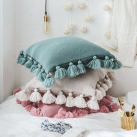 Enipate New Knit Pure Color Cushion Cover Pillow Acrylic Ball Tassel Sofa Bed Room Textile Adult Child Lover Beauty Home Dector - HeyHouseCart