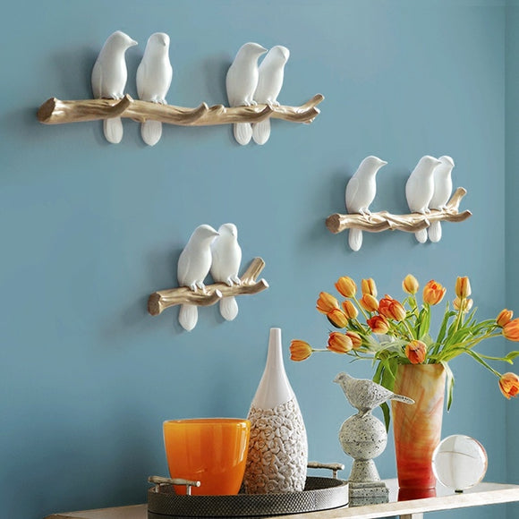 European Style 3D Bird Decor Hook DIY Simple Coat Wall Coat Rack Living Room Bedroom Wall Hanging Hook Key Frame Home Decoration - HeyHouse