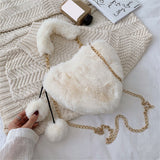 Fashion Fluffy Fur Heart Crossbody Handbag