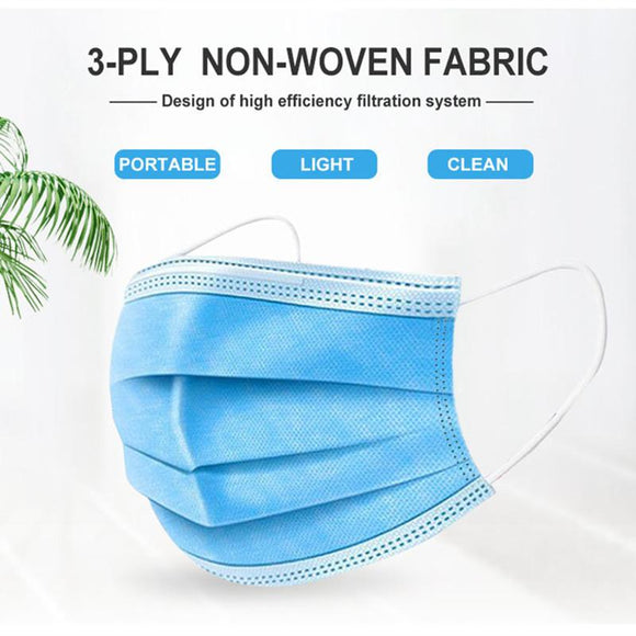 50pcs Fast delivery 3-layer Non Woven Disposable Anti-Dust Meltblown cloth Masks - HeyHouse
