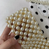 Faux Pearl Clutch Bag Women Vintage Evening Beaded Wristlet Purse Female 2019 Handmade Spring Trendy Retro Chic Beading Handbag - HeyHouse