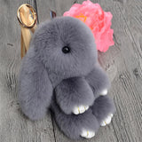 Fluffy Real Rabbit Fur Pompon Bunny Keychain