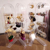 Foldable Acrylic Jewelry Hanger Organizer Earring Necklace Bracelet Storage Holder Display Stand Makeup Organizers Jewelry Rack - HeyHouseCart