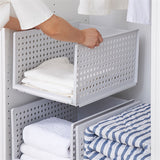 Foldable Storage Basket Plastic Push-pull Stackable Basket - HeyHouse