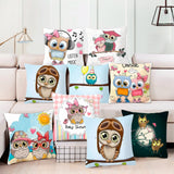 Unicorn Sofa Decorative Cushion Covers/ Throw Pillow Cartoon Owl Seat Cushion Chair Home Decor Pillow Case Pillowcase/ Throw Pillow 45*45 Pillow Cover/ Throw Pillow - HeyHouse