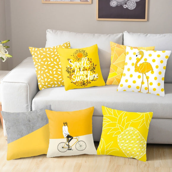 Yellow Flamingo Cushion Cover/ Throw Pillow 45*45 Polyester Nordic Style Decorative Pillow Case/ Throw Pillow Home Decor Sofa Throw Pillow/ Pillow Cover Pillowcase - HeyHouse