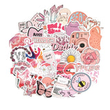 50PCS Cartoon Pink Stickers For Laptop Moto Skateboard Luggage Refrigerator Notebook