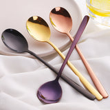 7 Color Stainless Steel Spoons With Long Handle Spoons Rose Gold Soup Spoon for Ice Cream Dinner Spoons Rice/Salad Tableware - HeyHouse