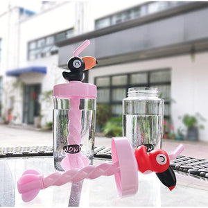 400ML Cartoon Straw Type Plastic Water Bottles Stirring Straw Cup for Boys and Girls Water Bottle with Straw Portable Travel - HeyHouse